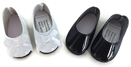 acb8973dbf75c Dori's Doll Boutique 2 pack Shiny Dress Shoes-White and Black for 14 inch  American Girl Wellie Wishers Doll