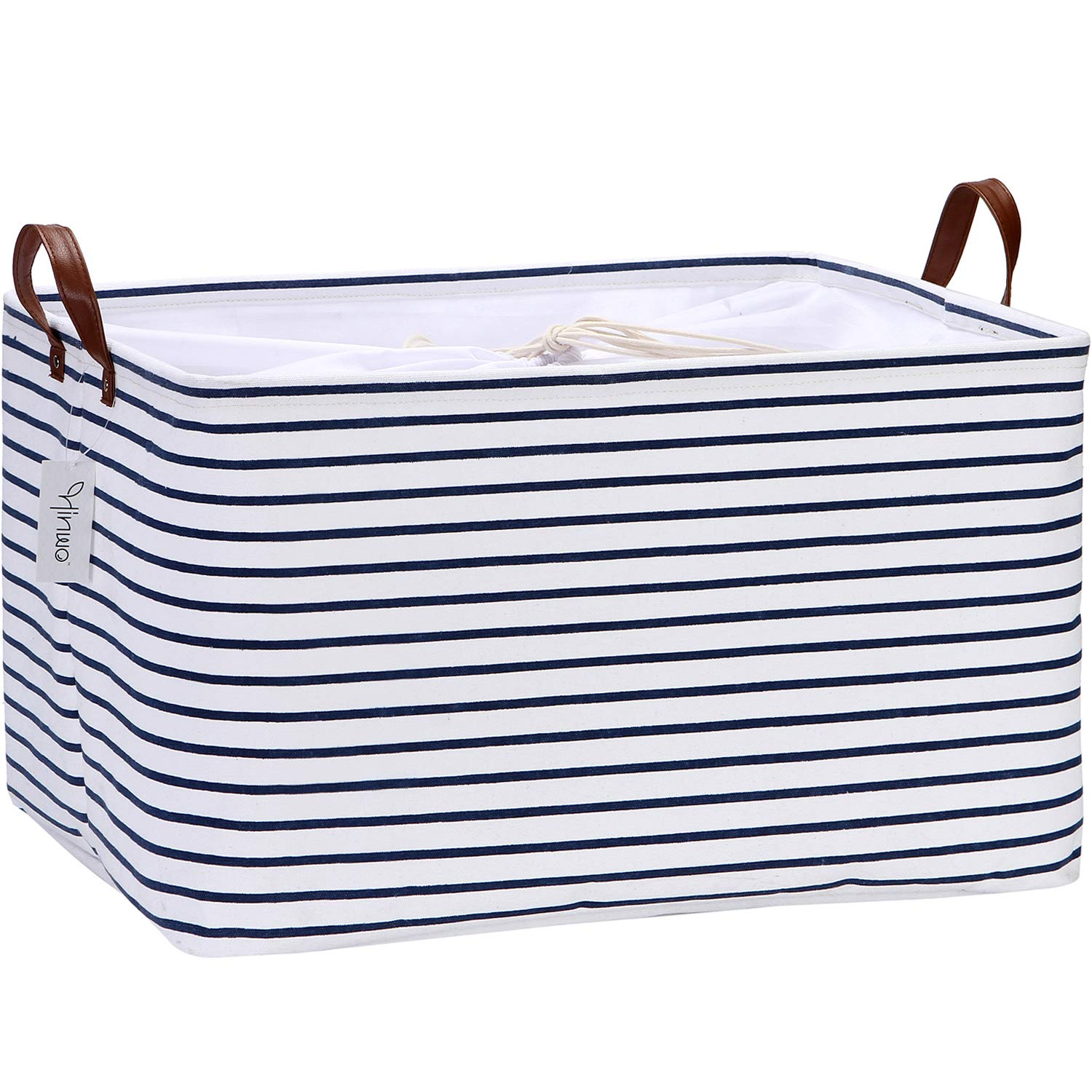 Hinwo 70L Extra Large Capacity Storage Basket Canvas Fabric Storage Bin Collapsible Storage Box with PU Leather Handles and Drawstring Closure, 22 by 15 inches, Waterproof Inner Layer, Navy Stripe