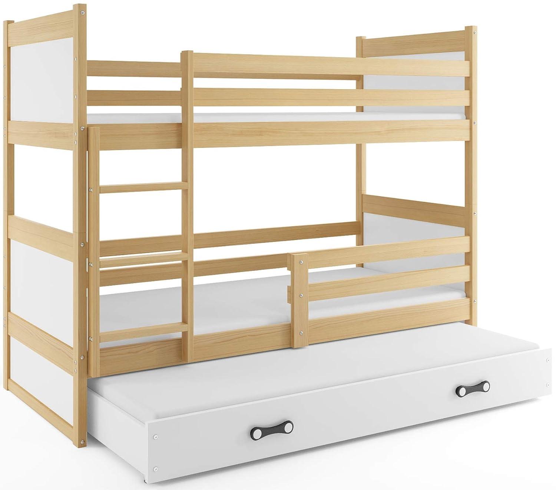 Weiß Interbeds Etagenbett Hochbett RICO 3 (für DREI Kinder) Farbe  Kiefer + 2. Farbe zur Wahl; mit Lattenroste + Matratzen (weiβ)