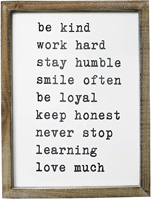 Amazon Com Sany Dayo Home Wall Decor Signs With Inspirational Sayings 16 X 12 Inches Rustic Wood Framed Modern Farmhouse Wall Hanging Art Be Kind Stay Humble Never Stop Home Kitchen
