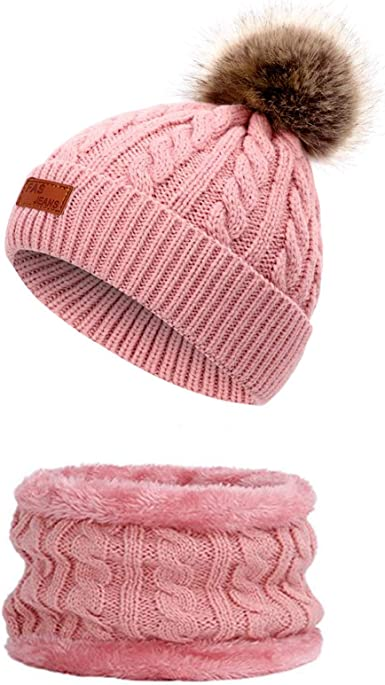 QKURT Kids Winter Beanie Snood Set Warn Knitted Circle Scarf Hat Set with Thick Fleece Super Soft Cap Neck Warm for 5-12 Years Old Girls Kids Children