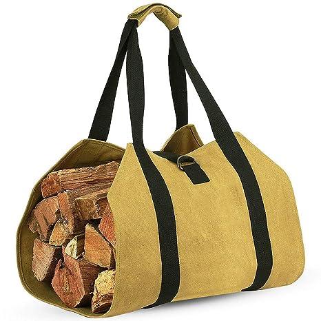 Gran lienzo registro bolsa portador interior chimenea leña Totes titulares ronda woodpile rack fuego portadores de