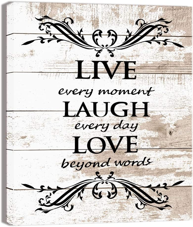 Visual Art Decor Inspirational Live Laugh Love Words Quote Rustic Brown and Beige Wood Textured Background Canvas Prints Poster Stretched on Wood Frame Ready to Hang for Home Decoration