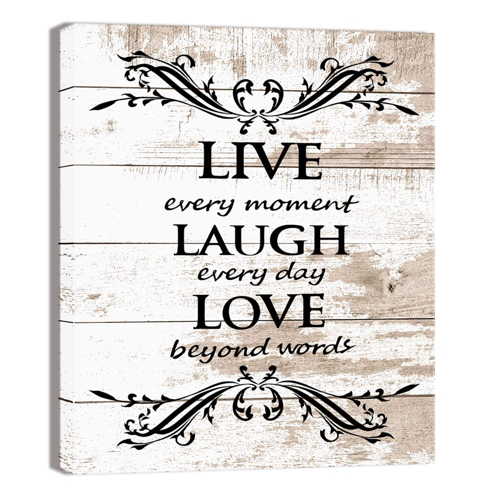 Visual Art Decor Inspirational Live Laugh Love Words Quote Rustic Brown And Beige Wood Textured Background Canvas Prints Poster Stretched On Wood Frame Ready To Hang For Home Decoration Amazon In Home