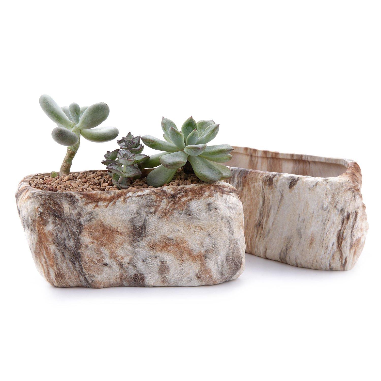 T4U 13.5CM Distinctive Stone Shape Succulent Cactus Plant Pots Flower Pots Planters Containers Window Boxes With Small Hole