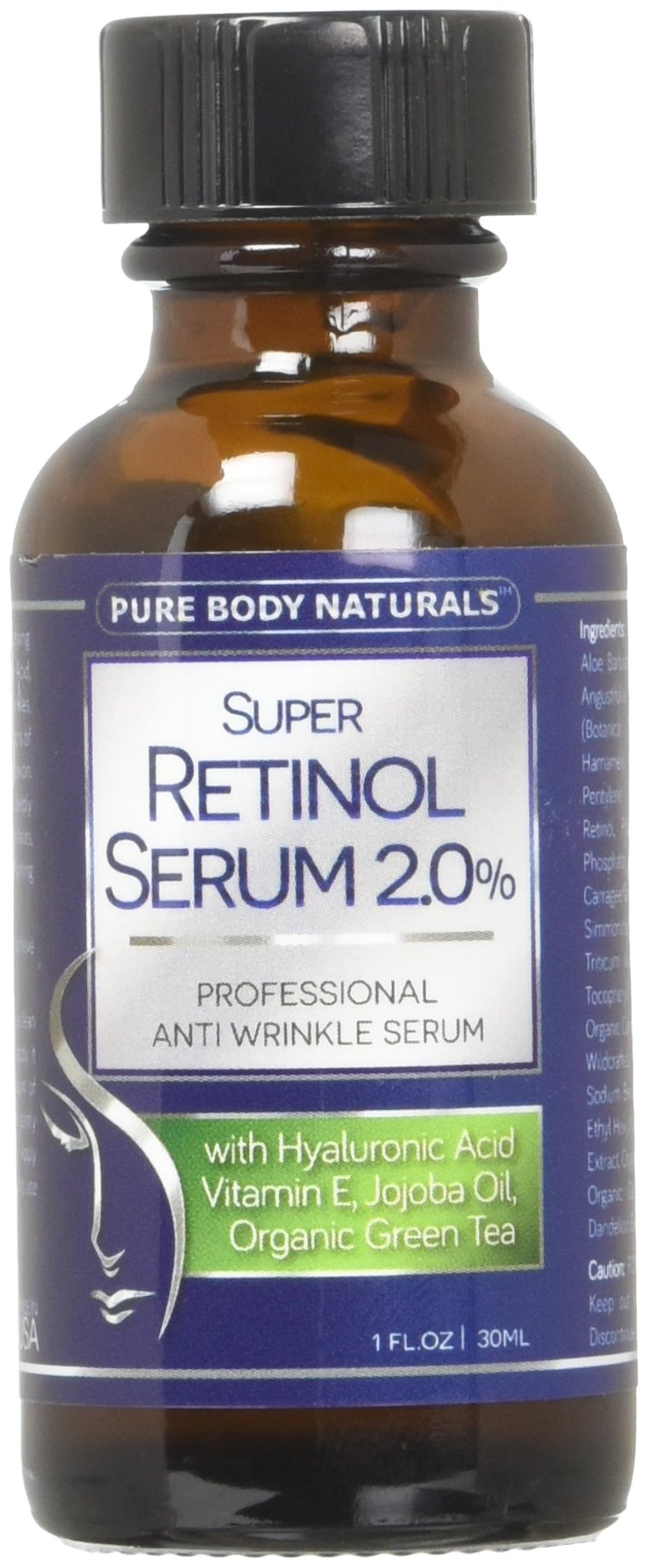Pure Body Naturals 2% Retinol Face Serum with Hyaluronic Acid, Vitamin E, Jojoba Oil and Organic Green Tea, 1 Fl Oz
