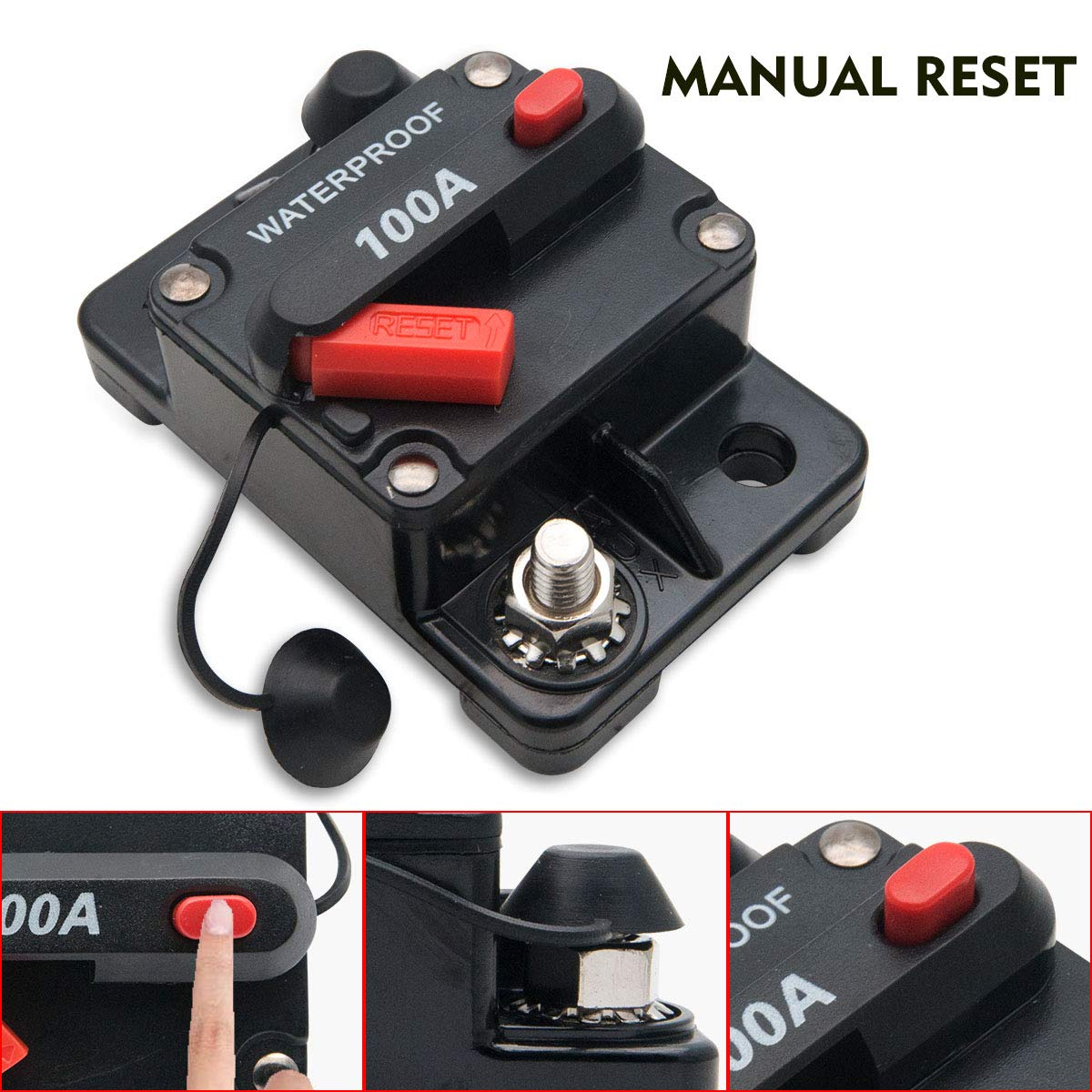 Maso 30 Amp Car Circuit Breaker 12v 24v Dc Waterproof Audio Breakers Stud Mount Auto Reset Automotive Inline