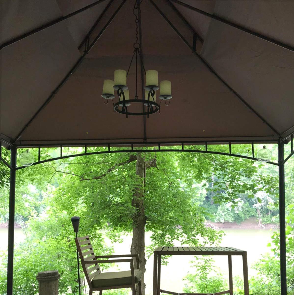 Wrought Iron Hanging Gazebo Candelabra Outdoor Patio Lighting