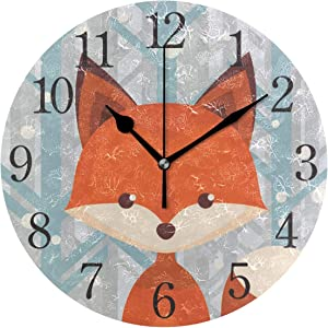 Wall Clock Brown Fox Silent Non Ticking Operated Round Easy to Read Home Office School Clock