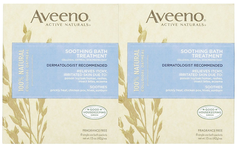 Aveeno Soothing Bath Treatment, Fragrance Free, 8 ct, 2 pk