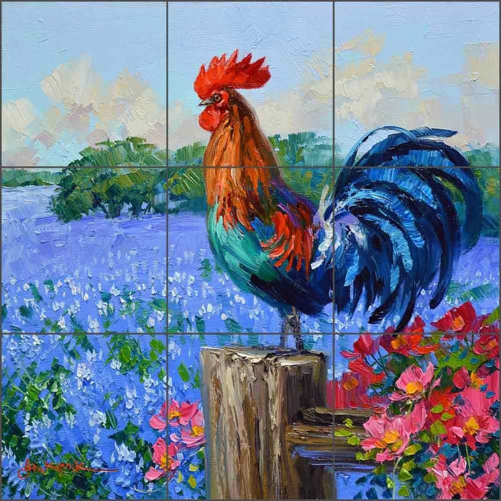 - Amazon.com: Rooster Tile Backsplash Singin' The Bluebonnets By