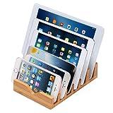 iCozzier Multi-Dispositivo Organizzatore stazione di carico supporto sul banco di Bambù con 6 Scanalature per piccoli computer portatili, iPhone 6 6S 6 Plus, Mini iPad 3 4, Samsung Galaxy S5 S6, Chrome Books, smartphone e tablet