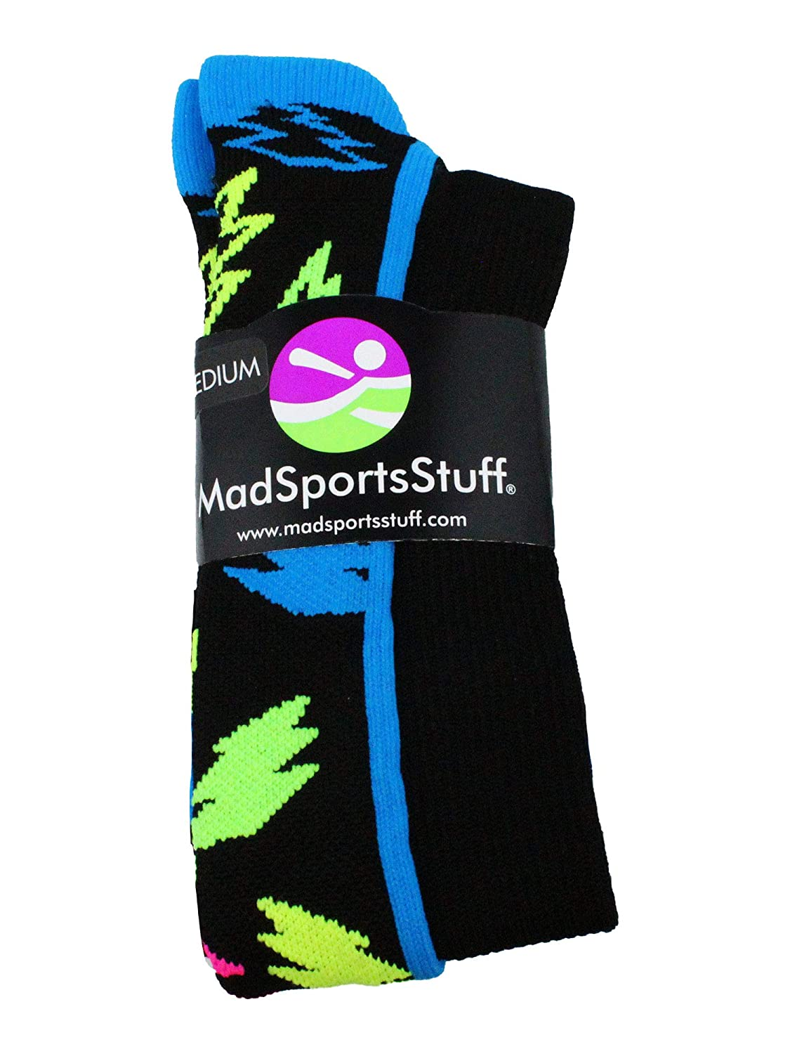 MadSportsStuff Crazy Socks with Lightning Bolts Multiple Colors
