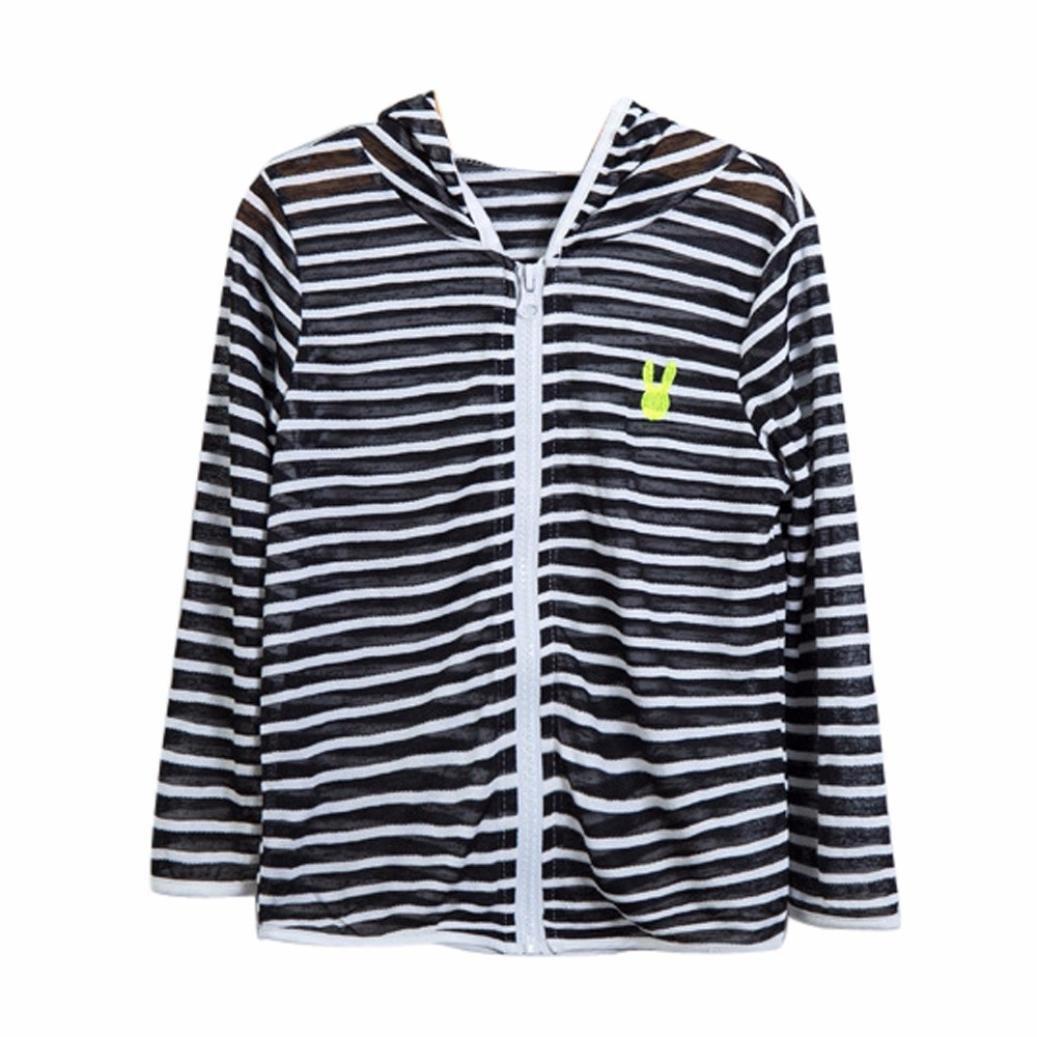 Winsummer Unisex Kids Sun-Protective Clothing Summer UV Protection Hoodie Sunscreen Jacket Zipper Ultrathin Coat (Navy,2T)