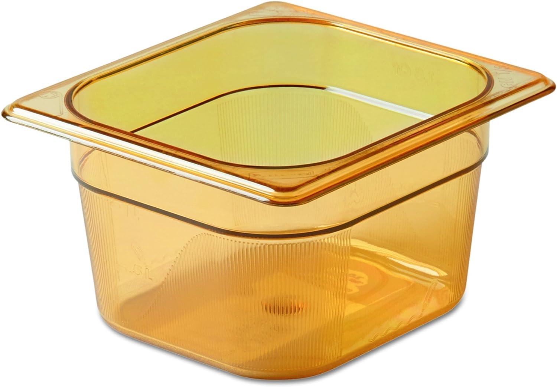 Rubbermaid FG205P00AMBR Sixth Size Multi-Use Hot Food Pan, 1-11/16 Quart