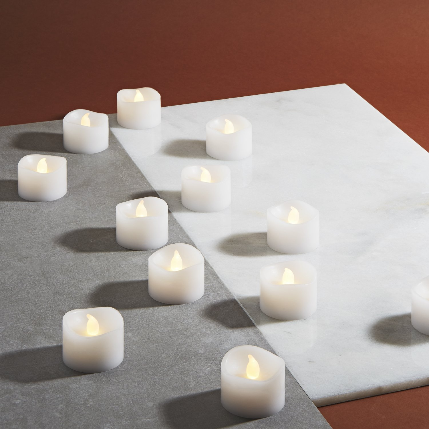 LampLust White Flameless Tea Light Candles, Warm White Glowing LEDs, Smooth Wax, Set of 12, Batteries & Remote Included