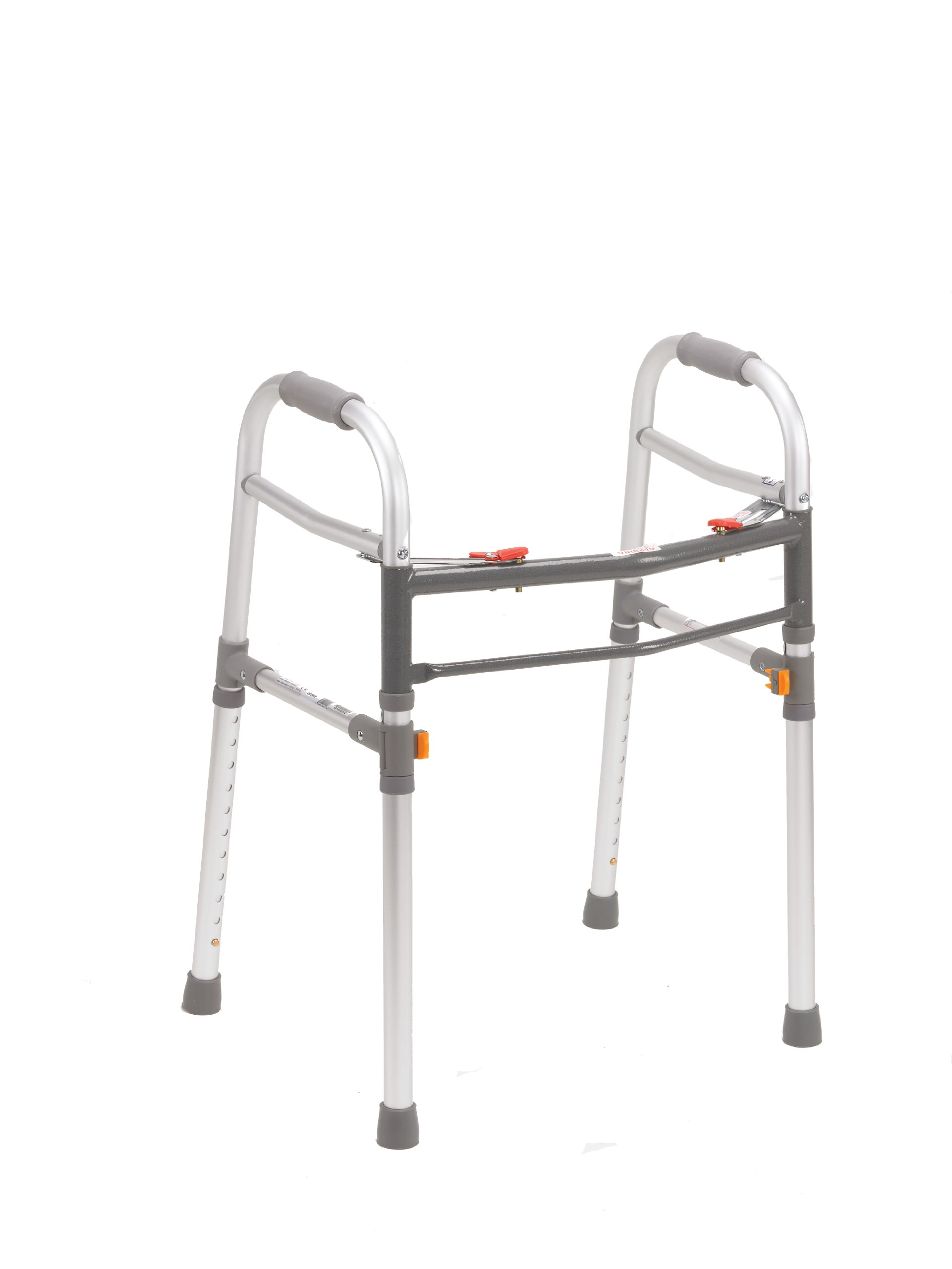 Drive Medical Deluxe Designer Two Button Folding Universal Walker, Gray, Adult / Junior