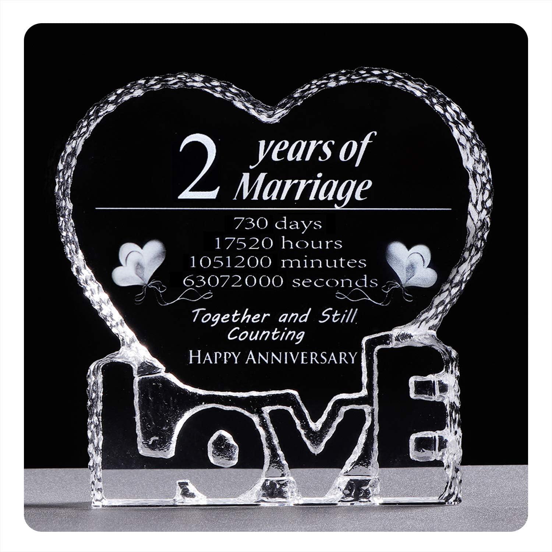 Amazon Com Ywhl 2 Year 2nd Wedding Anniversary Crystal Sculpture