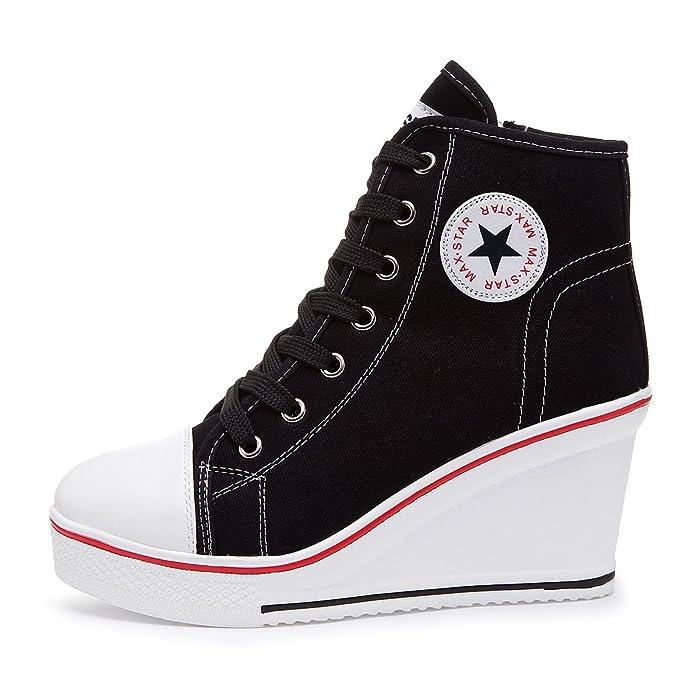 16 opinioni per Kivors Sneaker Donna Zeppa Alte Donna Scarpe Tela in Alte Zeppa Interna Zip 9 CM