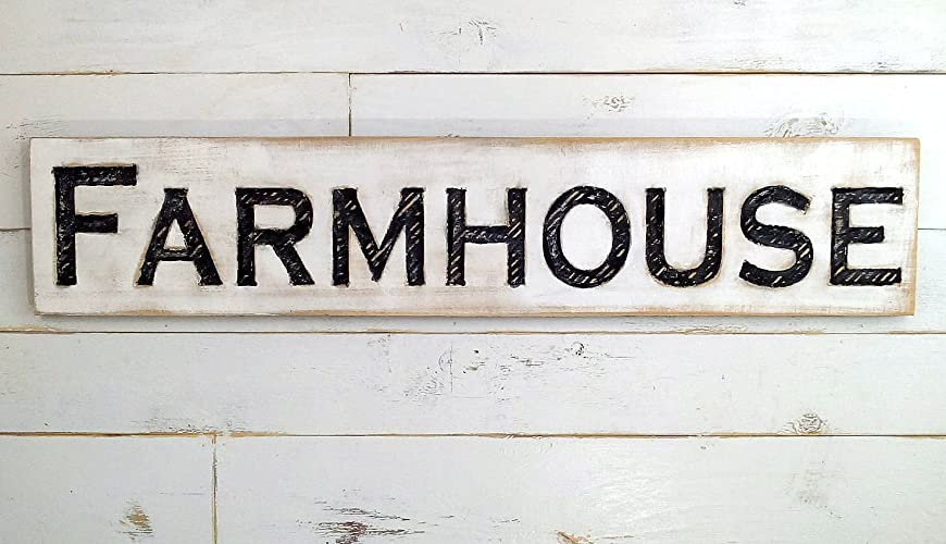 "Farmhouse wood sign for rustic or farmhouse-style decorating - measures 48"" wide by by 10""tall by 1"" thick"