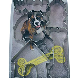 R&M International 1965 Dog Cookie Cutters, Woof, Dog Face, House, Fire Hydrant, 2 Bones, 6-Piece Set