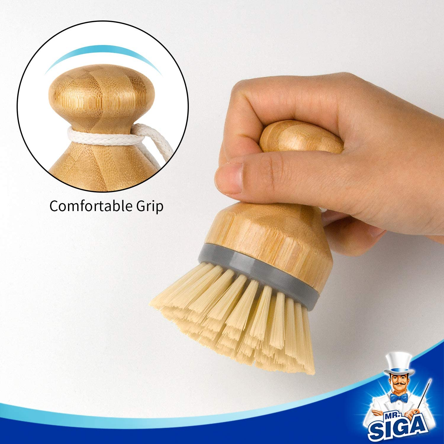 Confezione da 2 Scrub Brush for Dish Pans Pins Kitchen Sink Cleaning MR.SIGA Bamboo Palm Brush