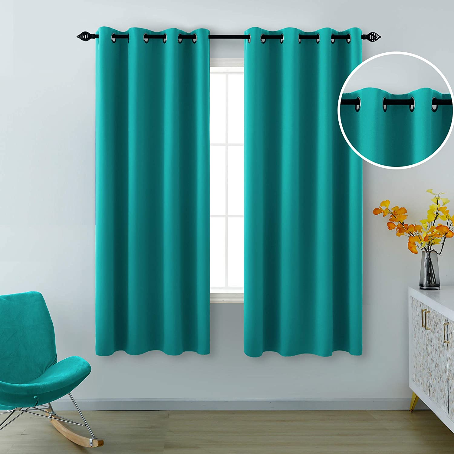 Teal Curtains 63 Inch Length for Girls Room 2 Panels Grommet Light Blocking Thermal Insulated Room Darkening Blackout Curtains for Bedroom Girls Teens 52 x 63 Inches Long