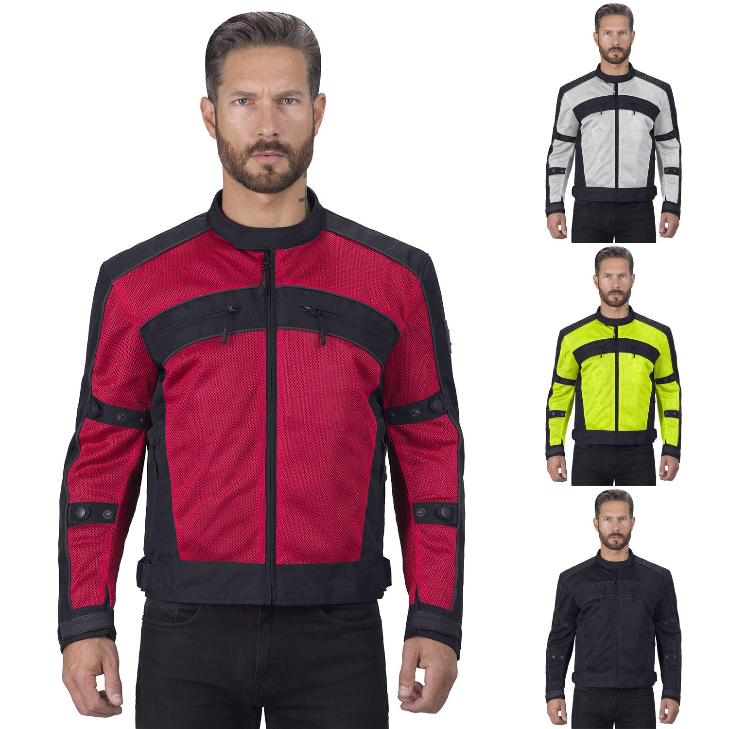 Viking Cycle Motorcycle Jackets for Men Ironside Men's Mesh Motorcycle Jacket (Red, X-Small) by Viking Cycle