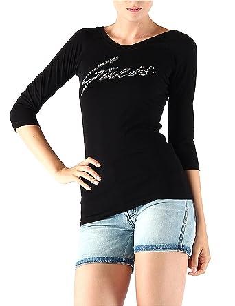 5f26ece84a8b GUESS Long-Sleeved T-shirt-Women-W51I48J1310 - Black - 12: Amazon.co.uk:  Clothing