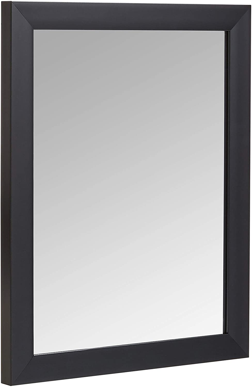 "AmazonBasics Rectangular Wall Mirror 16"" x 20"" - Standard Trim, Black"