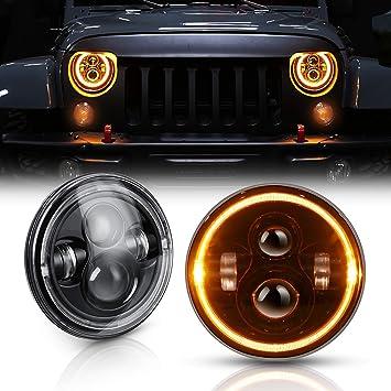 "2X 7/""inch 40W LED Halo Angel Eyes Hi-Lo Headlights for Jeep Wrangler JK CJ TJ"