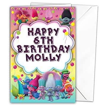 Personalised Glossy Birthday Card Large A5 Inspired By Trolls With