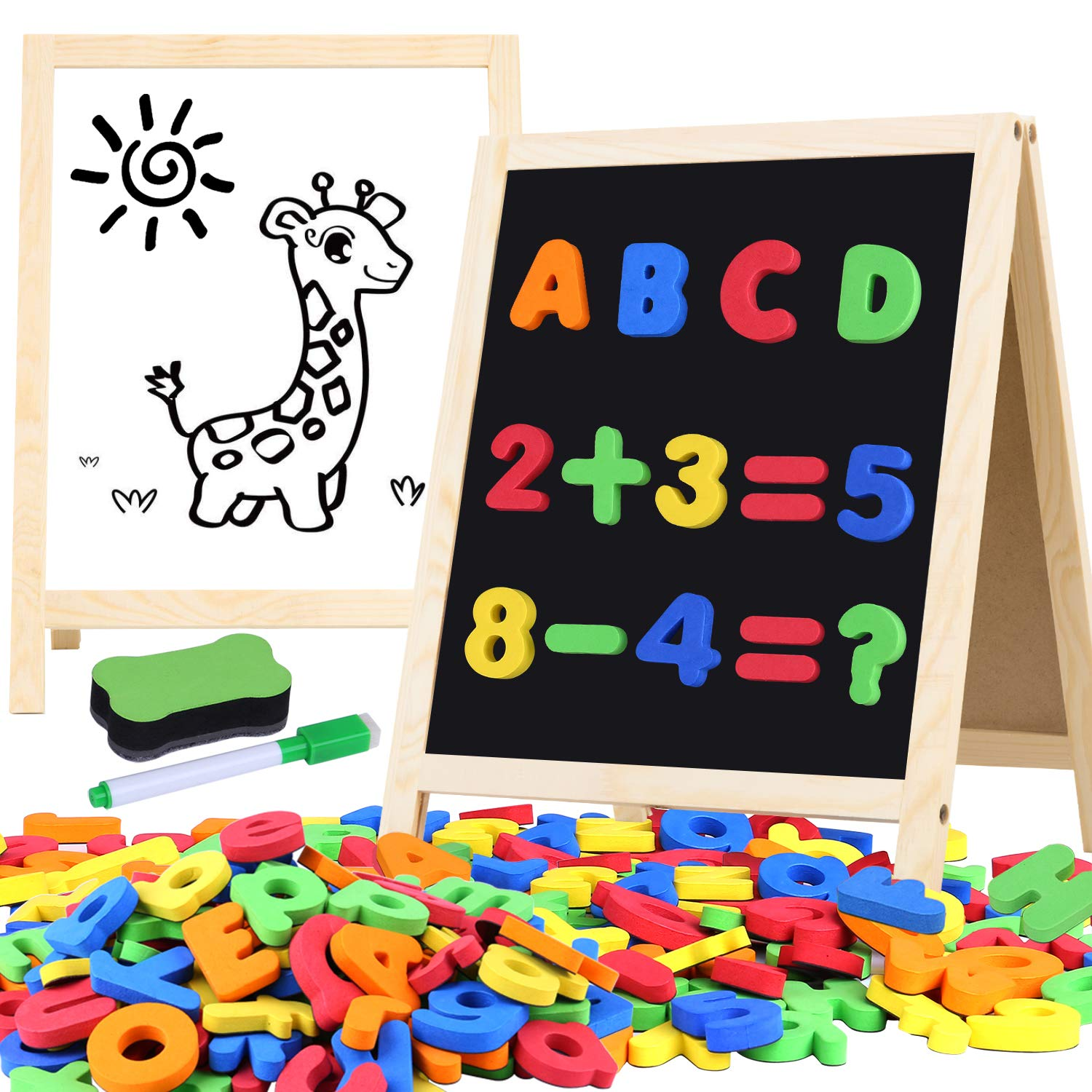 Giftinthebox Magnetic Letters and Numbers for Toddlers with Easels, 133 Pcs ABC Alphabets Magnets and Dry Erase Magnetic Double-Side Board, Kids Educational Classroom Set Preschool Learning Toys by Giftinthebox