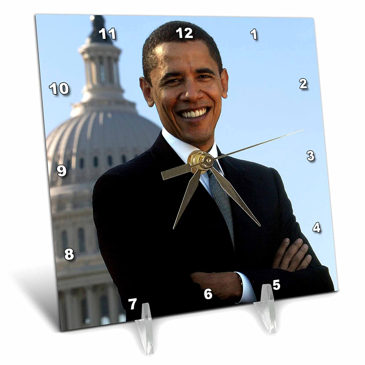 3dRose dc_43733_1 Close Up Portrait of Pres Obama Front of Capital-Desk Clock, 6 by 6-Inch