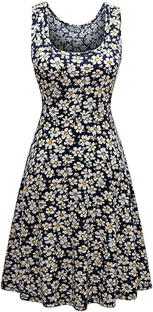 iLUGU Boat Collar Sleeveless Knee-Length Dress for Women Small Daisy Print A-Line Knit Dress