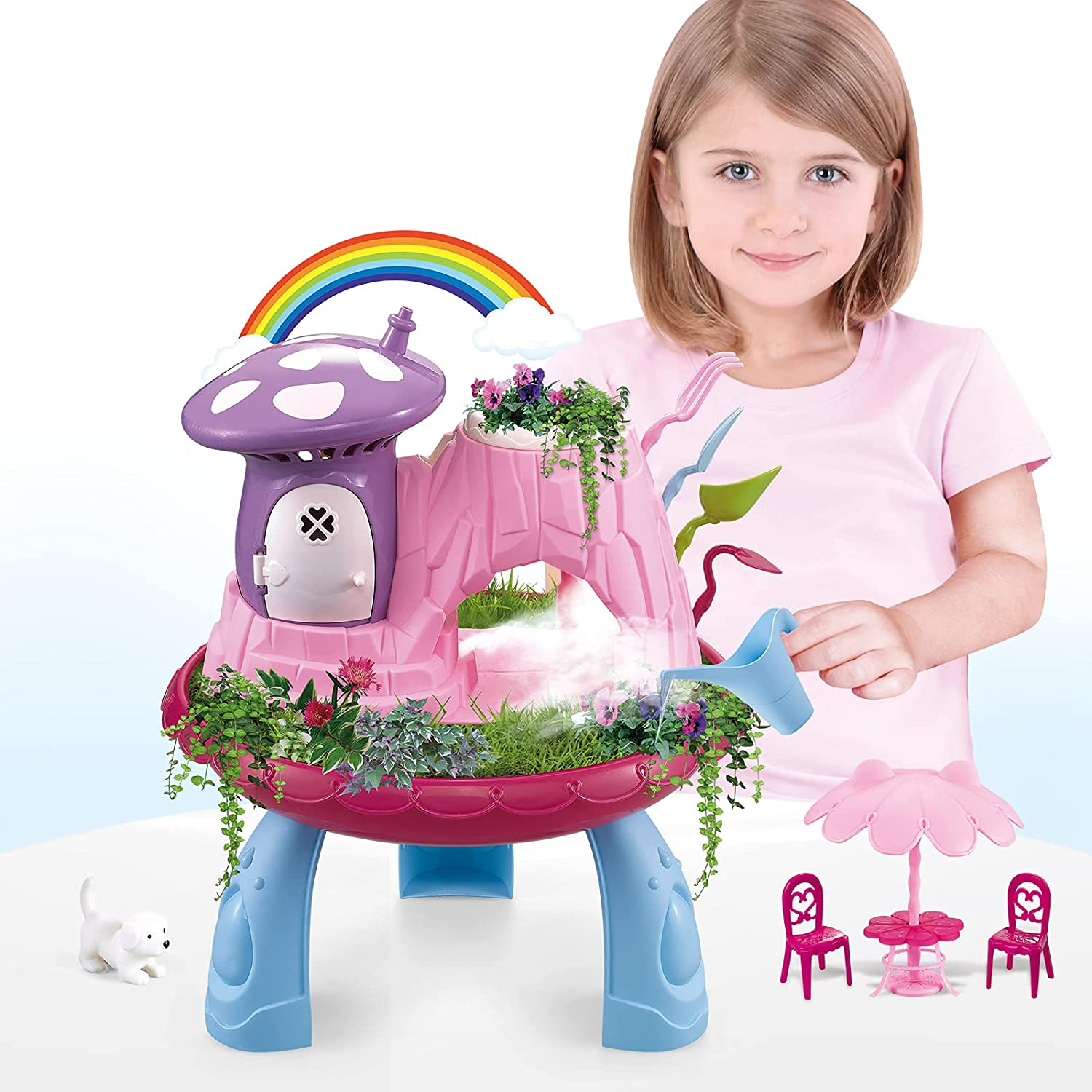Fairy Garden Kit for Kids, Outdoor Indoor Gardening Set Play Activity Gardening Tool Set Toys Including Soil Seeds Mist Spraying Music Mini Gardening Tools Toys for Ages 3 up Girls Boys