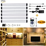 S&G Dimmable LED Under Cabinet Light Ultra Thin Under Counter Lighting 6pcs Puck Lights for Closet, 24W 1800 Lumens with UL-Listed Power Adapter