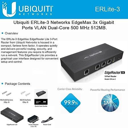 Ubiquiti ERLite-3 Edgemax EdgeRouter Lite 3-Port Router Gigabit LAN Port  EdgeOS