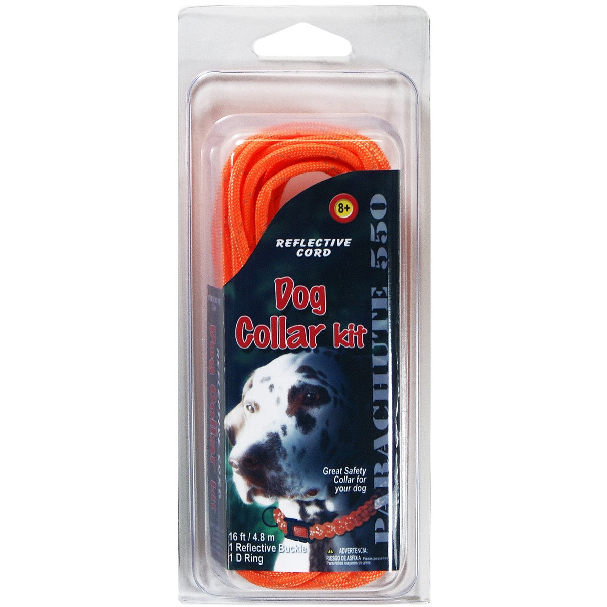 Pepperell Parachute Cord Reflective Dog Collar Kit, Multicolor, 16FT