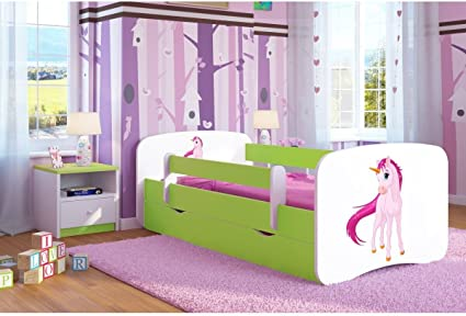 Cama infantil con unicornio de 70 cm x 140 cm, con barrera de seguridad, somier + cajones + colchón, color verde lima
