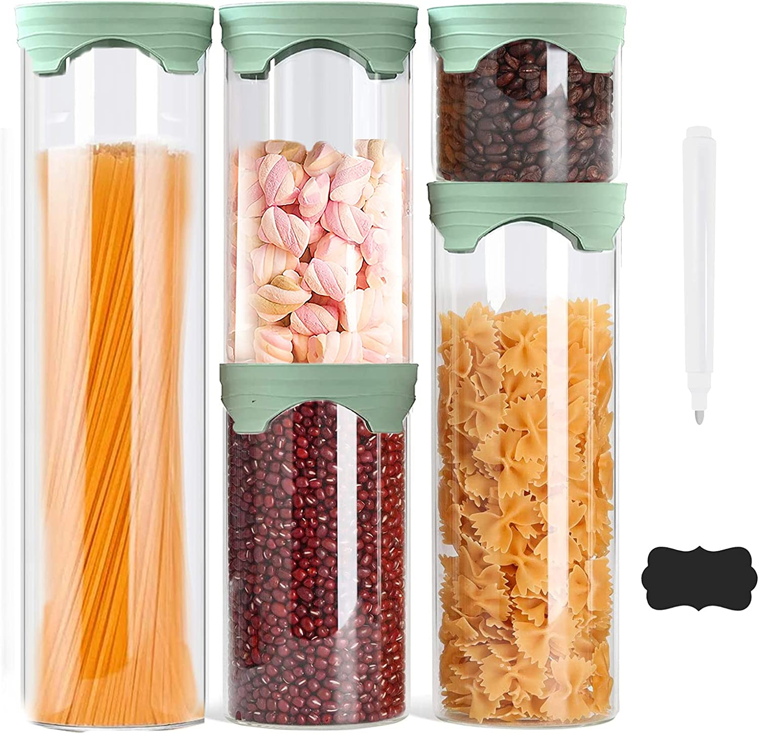 Luvan Glass Canisters Set of 5, Food Storage Jars Containers with Silicone Lid for Candy, Cookie, Rice, Sugar, Coffee,Flour, Pasta, Nuts, Cookie(15oz, 33oz, 50oz, 67oz)