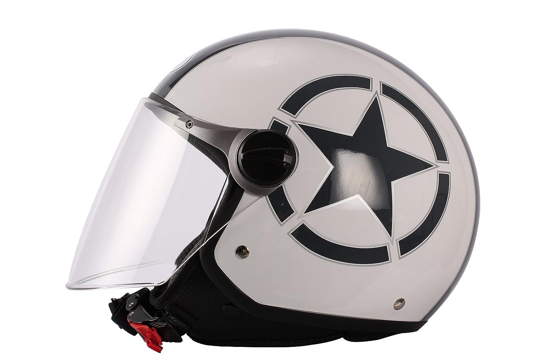 S 55//56 Casco de Moto BHR  93842 Demi-Jet Star 710 Blanco