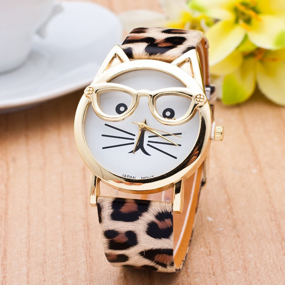 Amazon.com: Cat Watch with Glasses Women Quartz Watches Reloj Mujer Relogio Feminino Leather Strap Watch (White): Jewelry