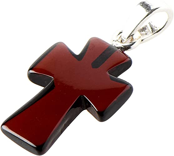 Heritage Amber Gemstone Pendant Sterling Silver Amber Cross Necklace for Men or Women Personalized With Up To 40 Characters