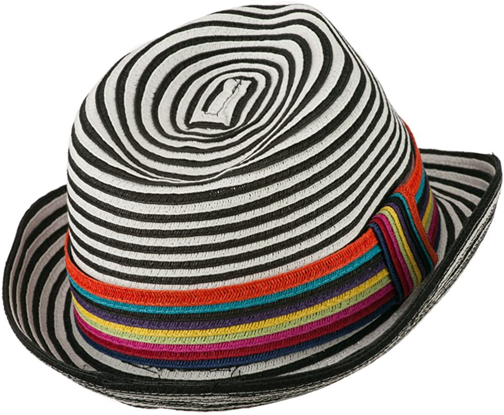 Jeanne Simmons Womens Striped Design Fedora Hat with Multi-Color Band Black White W19S63D