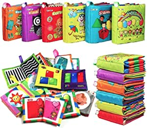 My First Soft BookTEYTOY 6 PCS Nontoxic Fabric Baby Cloth Books Early Education Toys Activity Crinkle Cloth Book for Toddler Infants and Kids Perfect for Baby Shower (New Version)
