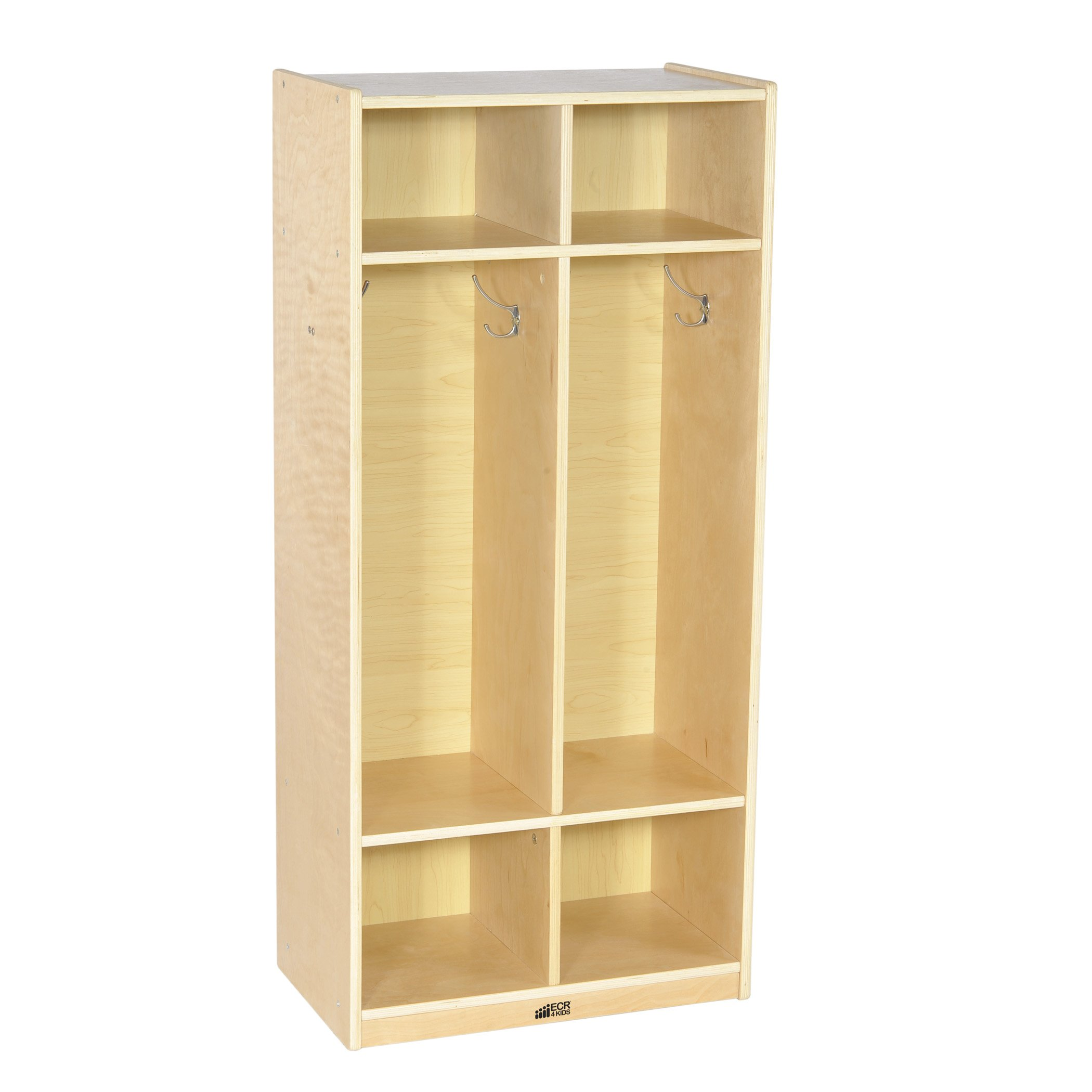 ECR4Kids Birch School Coat Locker for Toddlers and Kids, 2-Section, Natural