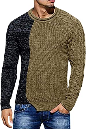 Fieer Mens Knit Warm Crew Neck Long-Sleeve Thick Stylish Sweater Pullover