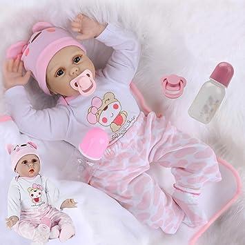 Amazon.es: antboat 22 Pulgadas 55 cm Muñecas Reborn Bebé Niña Vinilo Silicona Suave Muñeca Bebé Recién Nacido Reborn Niña Vida Real Realista Bebe Reborn Silicona Reborn Doll: Juguetes y juegos