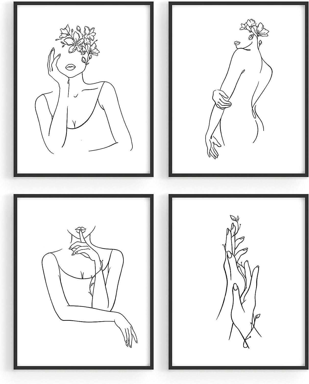 "HAUS AND HUES Minimalist Line Art Wall Decor Set of 4 Minimalist Wall Art Female Poster | Line Drawing Wall Art Women Body | Line Drawing Print | Sketch Poster (8""x10"", UNFRAMED)"